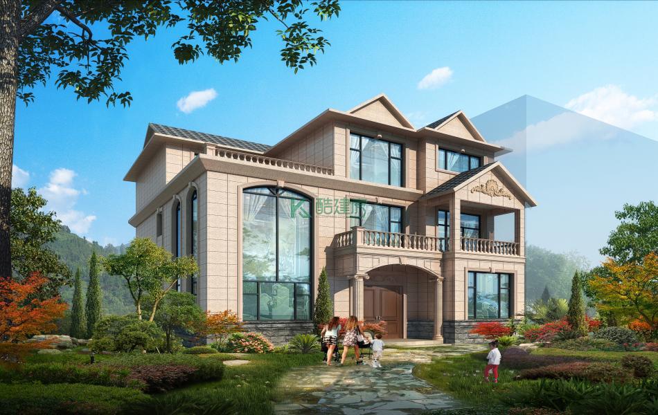 三层欧式别墅效果图新款大气,占地154平方14×11米带露台复式客厅阳台农村独栋别墅设计图