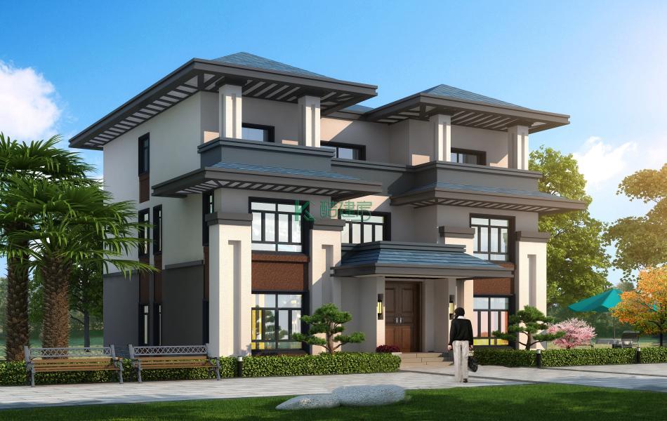 三层欧式别墅效果图新款高端,占地130平方13×10米带露台阳台农村独栋别墅设计图