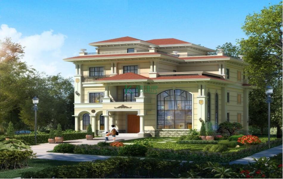 三层美式别墅效果图新款实用,占地156平方12×13米带院子露台复式客厅花园阳台农村独栋别墅设计图