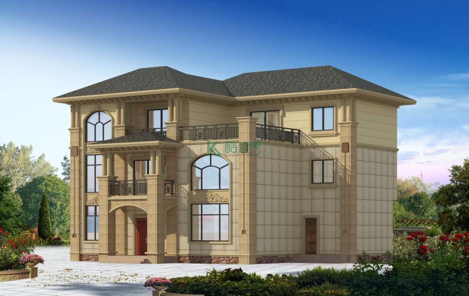 三层欧式别墅效果图新款大气,占地144平方12×12米带露台阳台农村独栋别墅设计图