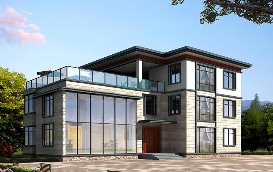 三层现代简约别墅效果图大气精美现代,占地160平方16×10米带露台阳台农村独栋别墅设计图