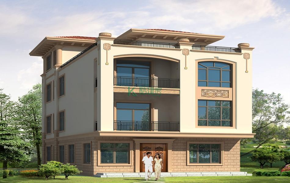 四层欧式别墅效果图新款复古,占地108平方9×12米带露台阳台农村独栋别墅设计图
