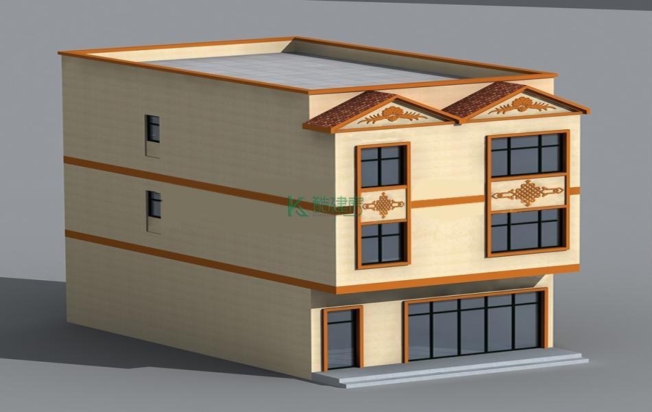 三层中式别墅效果图新款小户型,占地117平方9×13米带露台农村独栋自建房设计图