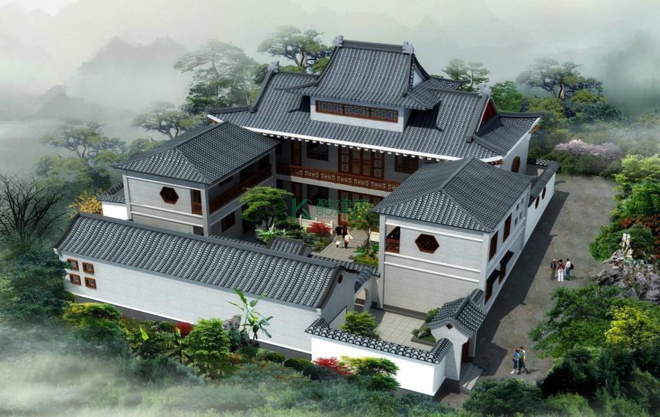二层中式别墅效果图新款精致,占地483平方23×21米带院子阁楼花园农村四合院别墅设计图