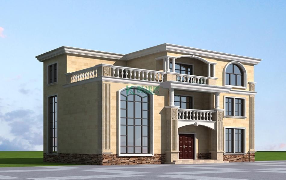 三层欧式别墅效果图新款小户型,占地117平方13×9米带露台阳台农村独栋别墅设计图