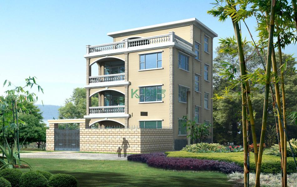 四层欧式别墅效果图新款小户型,占地130平方10×13米带院子阳台农村独栋别墅设计图