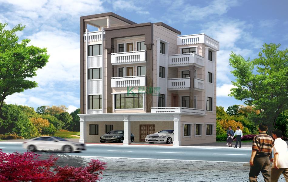 五层以上现代简约别墅效果图新款小户型,占地99平方11×9米带露台阳台农村独栋别墅设计图