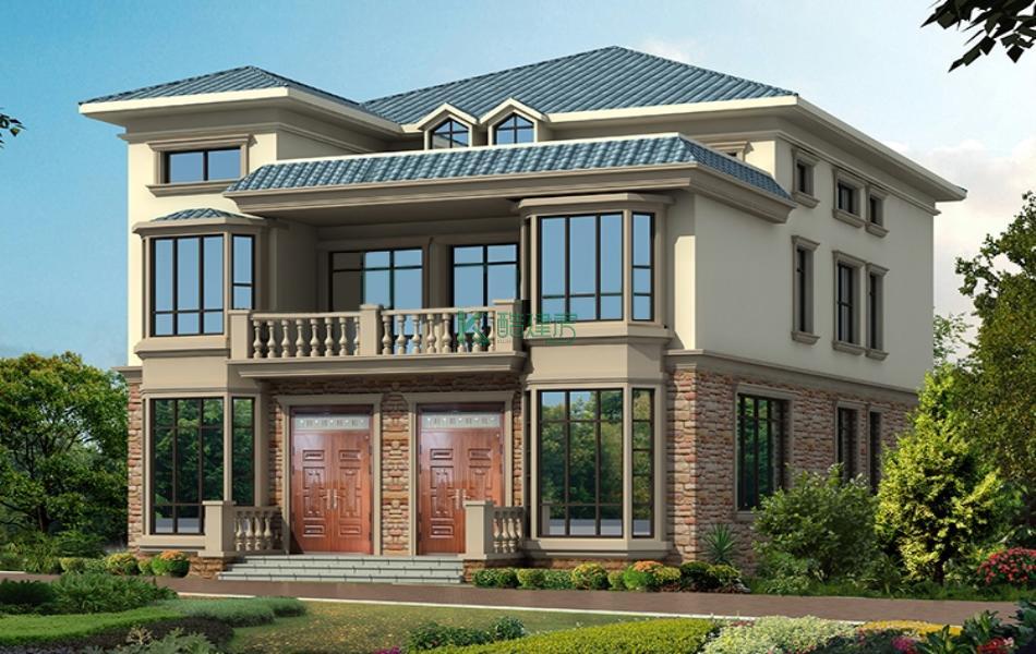 三层欧式别墅效果图新款复古,占地182平方14×13米带露台阳台农村独栋别墅设计图