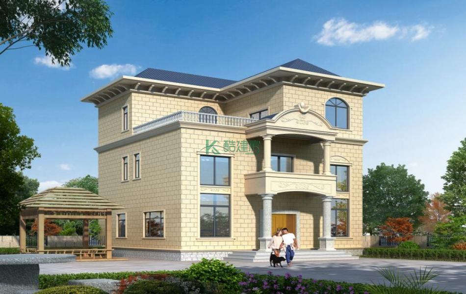 三层欧式别墅效果图新款小户型,占地100平方10×10米带露台阳台农村独栋别墅设计图