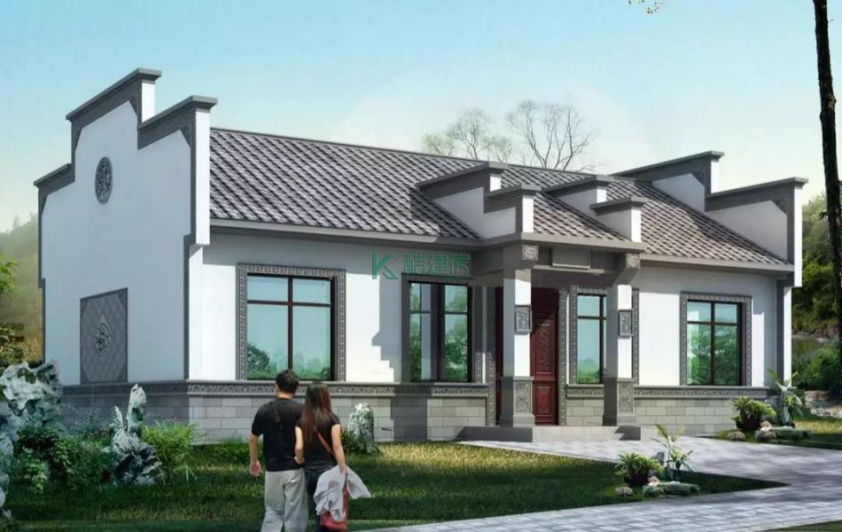 一层徽派别墅效果图气派复古,占地135平方15×9米带院子农村独栋自建房设计图