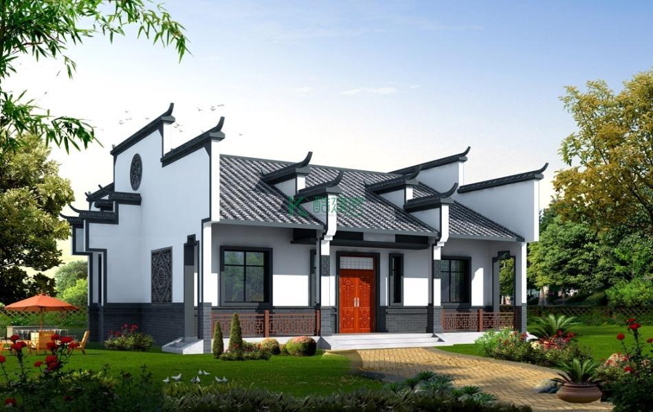 一层徽派别墅效果图新款复古,占地168平方14×12米带院子花园农村独栋自建房设计图