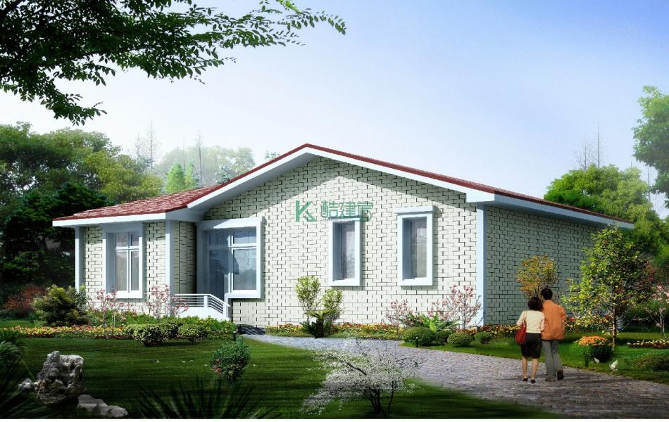 一层欧式别墅效果图小户型,占地77平方11×7米带院子农村独栋自建房设计图