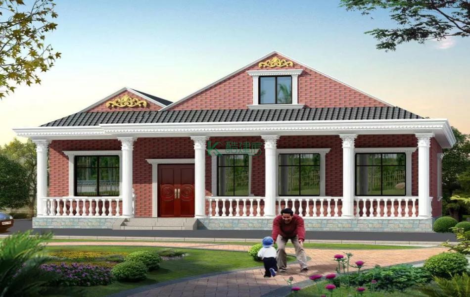 一层欧式别墅效果图小户型复古,占地104平方13×8米带院子阁楼农村独栋别墅设计图