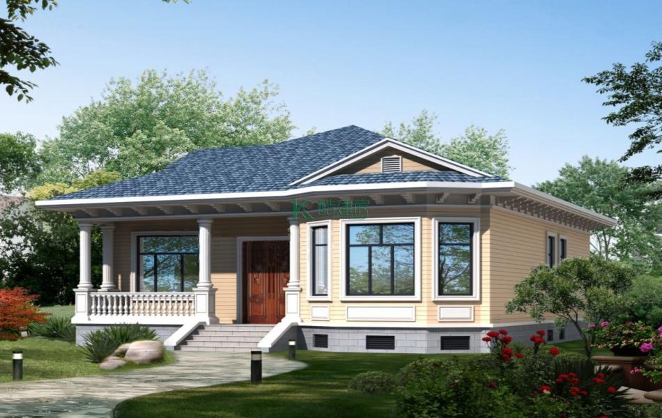 一层欧式别墅效果图小户型靓丽,占地99平方11×9米带阁楼农村独栋别墅设计图