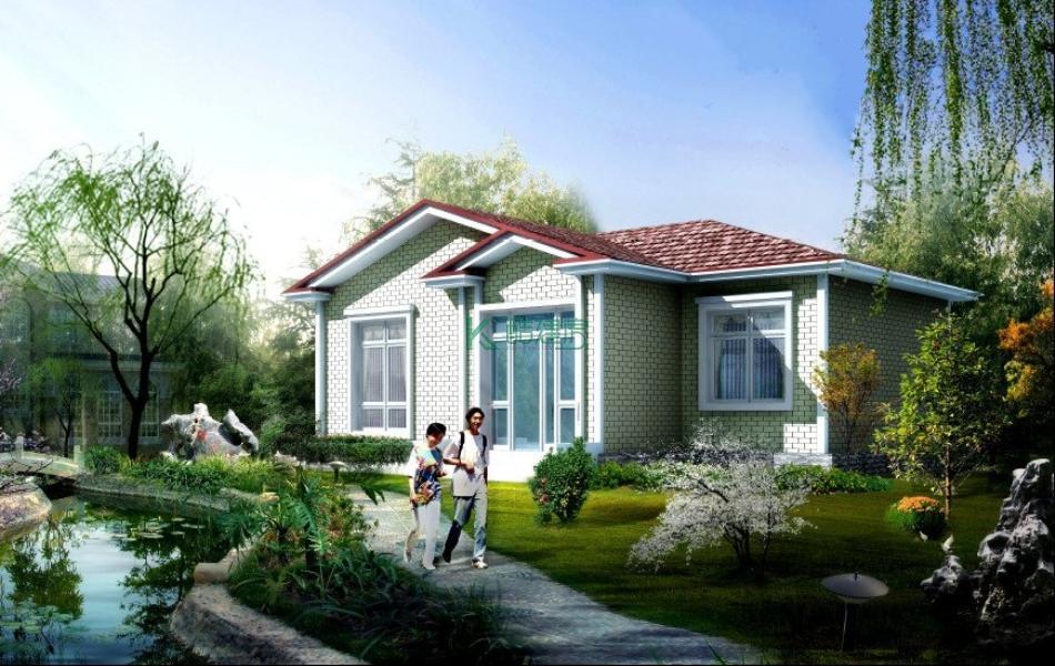 一层美式别墅效果图新款精品,占地96平方12×8米带院子花园农村独栋别墅设计图