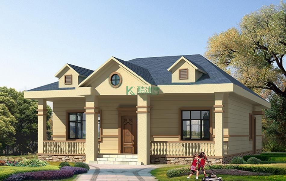 一层欧式别墅效果图2019新款,占地104平方13×8米带院子阁楼农村独栋别墅设计图