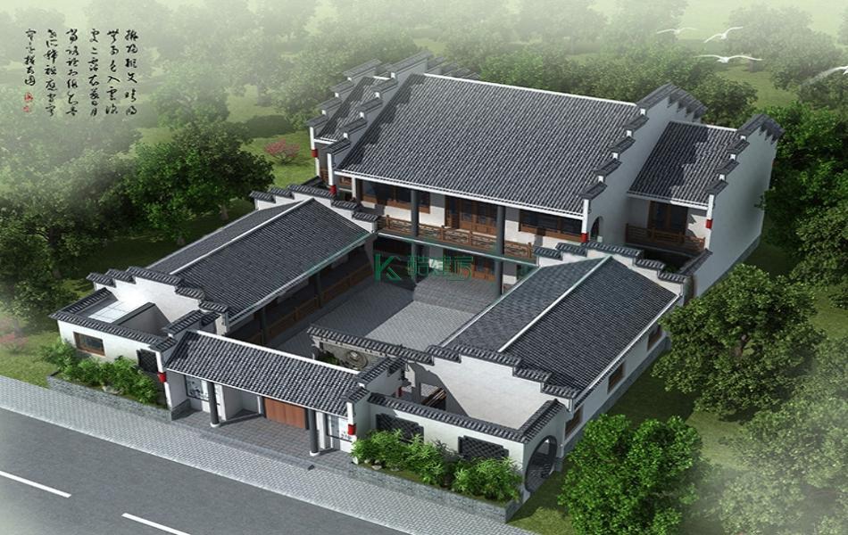 二层徽派别墅效果图新款复古,占地280平方14×20米带院子阳台农村四合院设计图