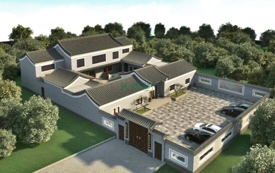 二层中式别墅效果图新款复古,占地285平方15×19米带院子花园农村四合院设计图