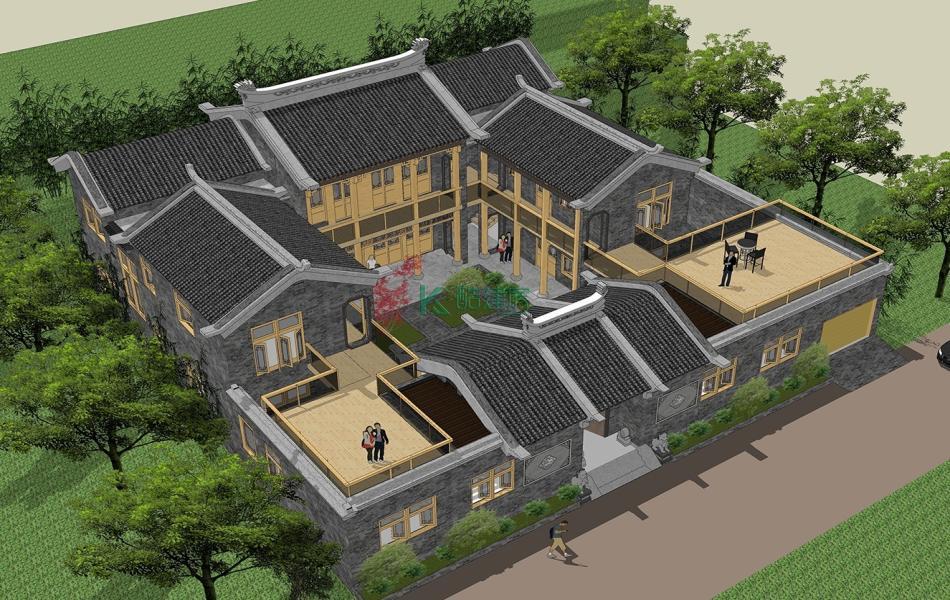 二层中式别墅效果图豪华大气,占地225平方15×15米带院子露台农村四合院设计图