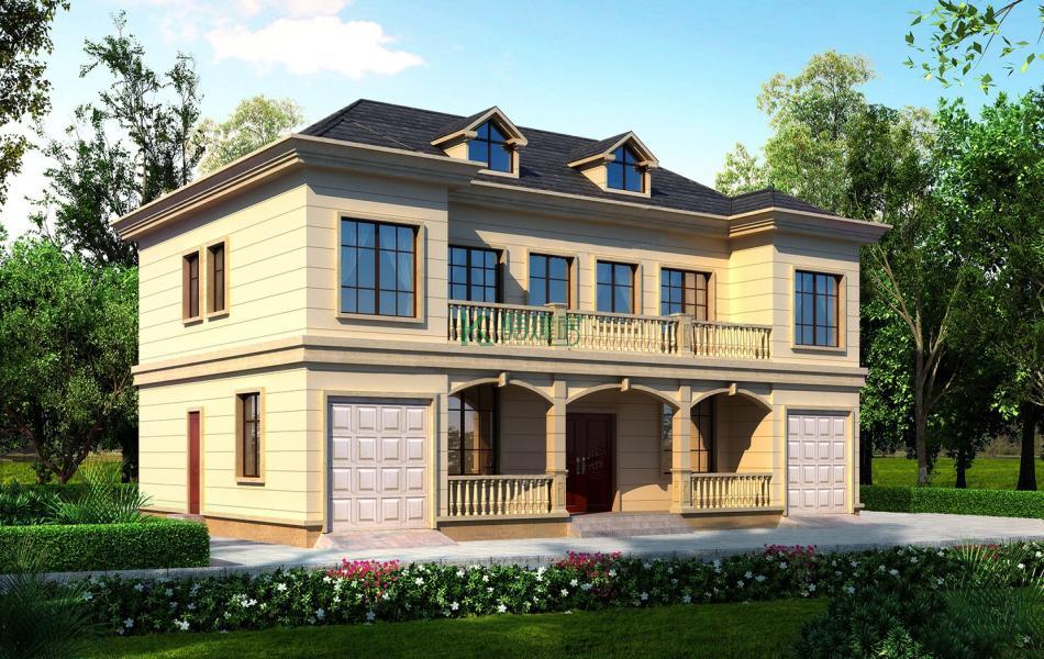 二层美式别墅效果图新款高端,占地240平方20×12米带车库阁楼露台农村双拼别墅设计图