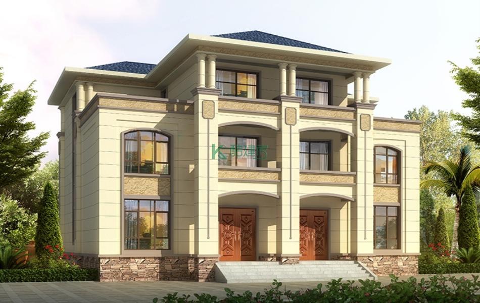 三层欧式别墅效果图新款精致,占地180平方18×10米带露台阳台农村双拼别墅设计图