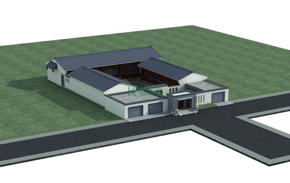 一层中式别墅效果图经济型清新,占地437平方19×23米带车库院子农村四合院设计图