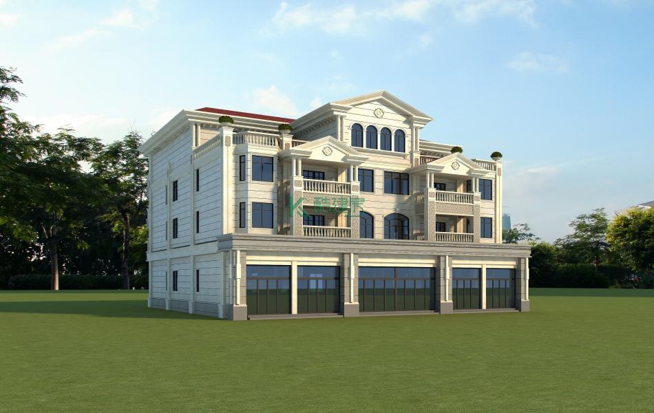 四层美式别墅效果图新款高端,占地180平方15×12米带露台阳台农村双拼别墅设计图