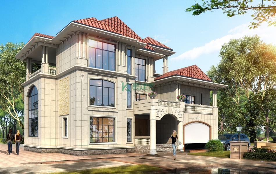 三层欧式别墅效果图新款精致,占地132平方12×11米带车库露台阳台农村独栋别墅设计图
