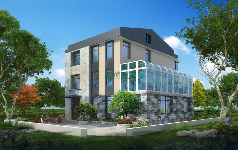 三层中式别墅效果图新款现代,占地165平方11×15米带院子阳光房农村独栋自建房设计图