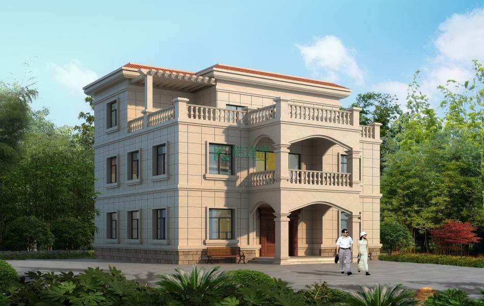 三层欧式别墅效果图新款小户型,占地99平方11×9米带露台阳台农村独栋别墅设计图