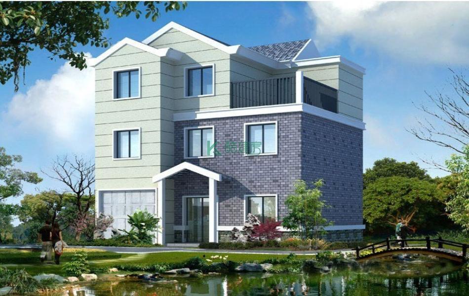三层中式别墅效果图小户型美观,占地108平方12×9米带车库露台农村独栋自建房设计图