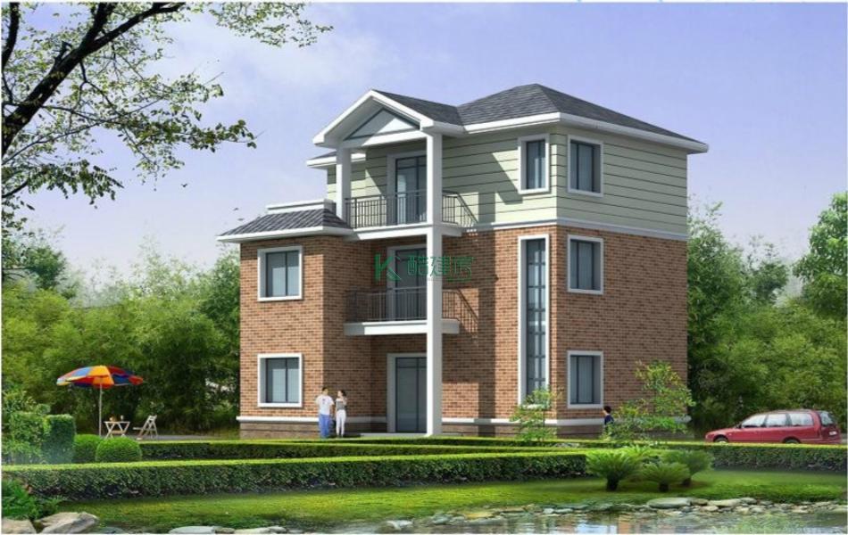 三层欧式别墅效果图简单高端,占地182平方13×14米带露台阳台农村独栋别墅设计图