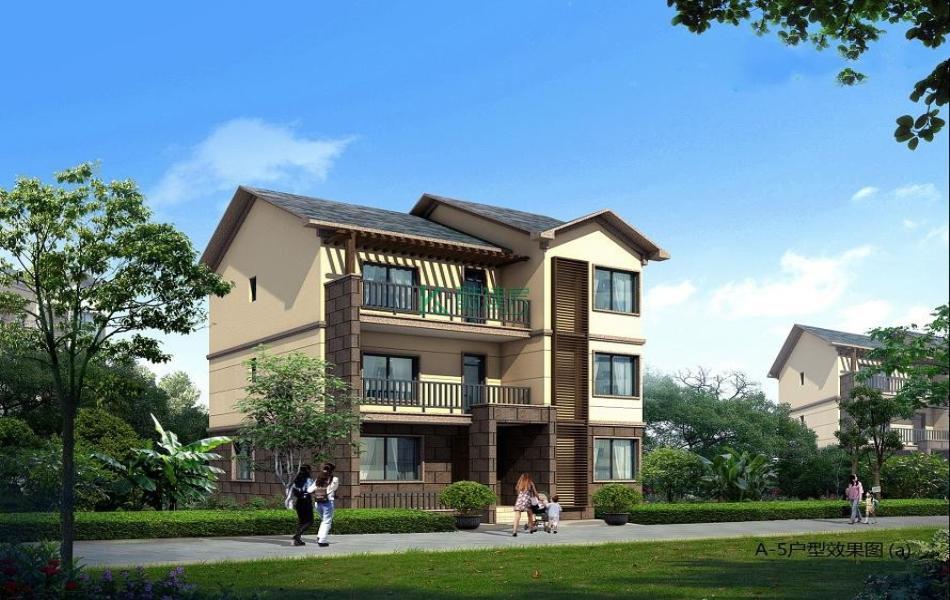 三层田园别墅效果图新款豪华,占地132平方11×12米带露台阳台农村独栋别墅设计图