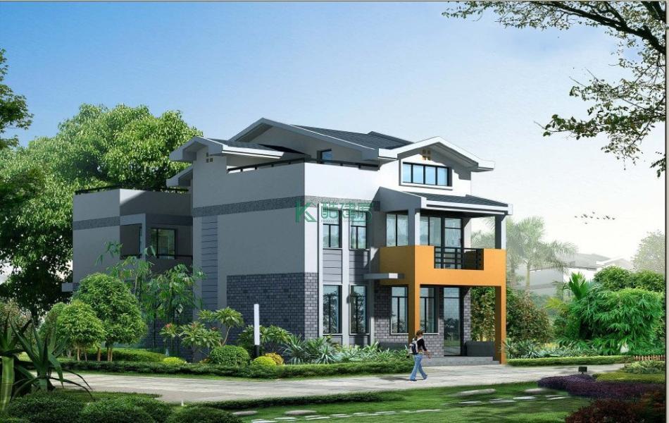 三层中式别墅效果图简约小户型,占地99平方9×11米带露台阳台农村独栋别墅设计图