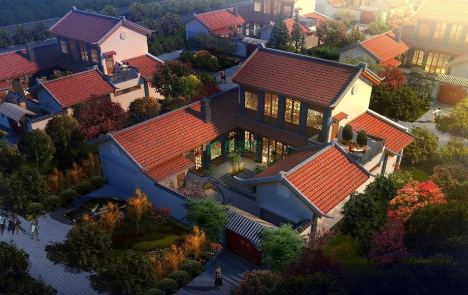 二层中式别墅效果图新款高端,占地165平方11×15米带院子露台农村四合院别墅设计图