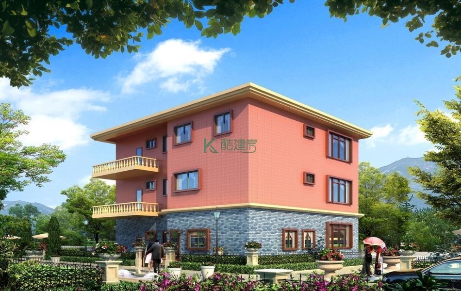 三层中式别墅效果图简单素雅,占地144平方12×12米带露台农村独栋自建房设计图