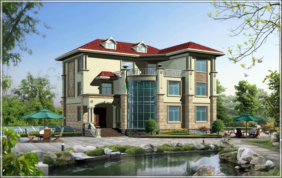 三层美式别墅效果图豪华大气,占地154平方14×11米带院子露台农村独栋别墅设计图