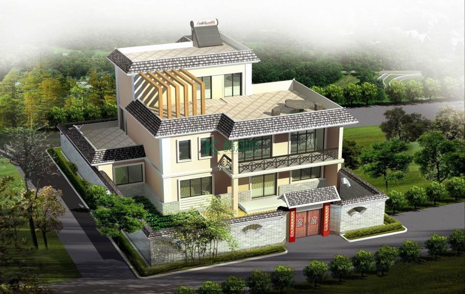 三层中式别墅效果图简单复古,占地169平方13×13米带院子露台阳台农村独栋别墅设计图