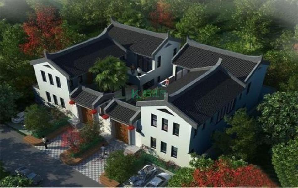 二层中式别墅效果图新款大气,占地432平方18×24米带院子露台农村双拼自建房设计图
