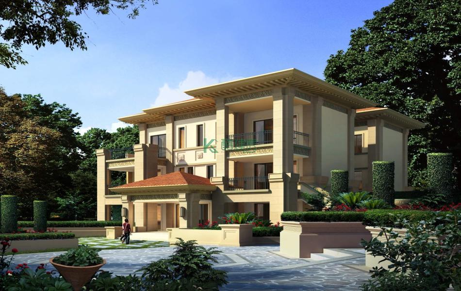 三层欧式别墅效果图新款精致,占地195平方13×15米带院子露台阳台农村独栋别墅设计图