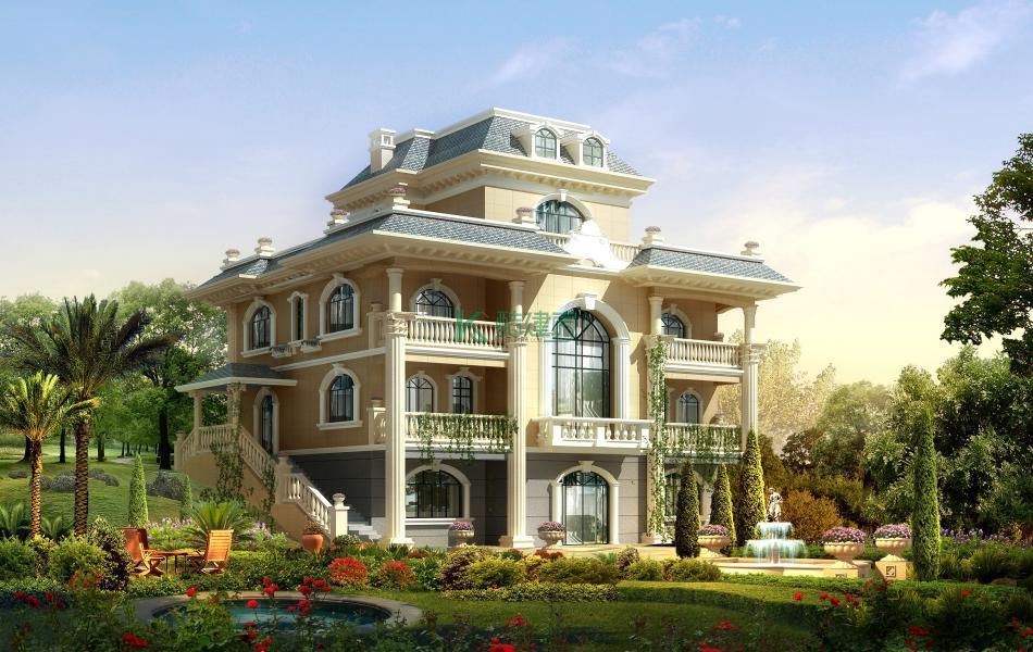 四层欧式别墅效果图大气典雅,占地165平方15×11米带阁楼露台复式客厅阳台农村独栋别墅设计图