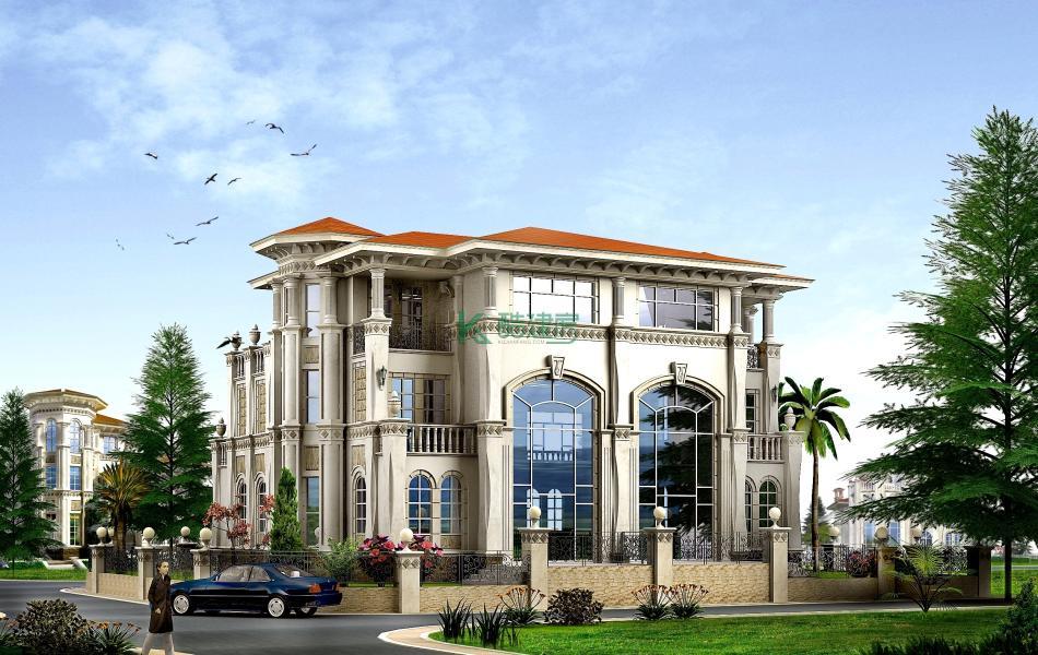 三层美式别墅效果图新款简约,占地460平方20×23米带院子露台复式客厅阳台农村双拼别墅设计图