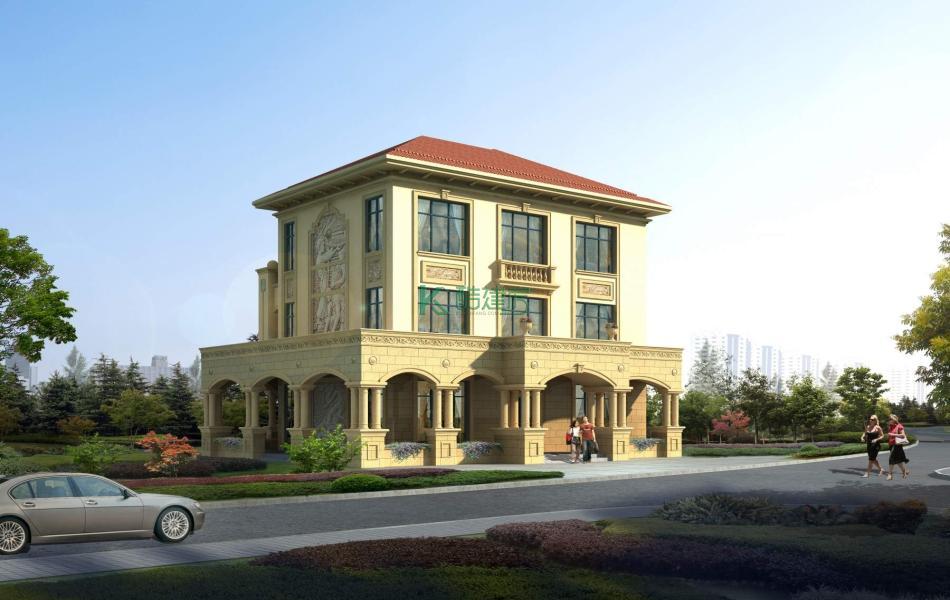 三层美式别墅效果图经典最美,占地156平方13×12米带露台农村独栋别墅设计图
