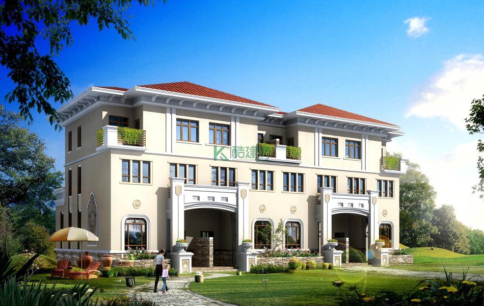三层美式别墅效果图新款豪华,占地312平方24×13米带露台农村双拼设计图