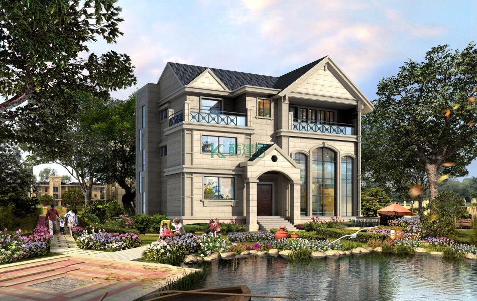 三层美式别墅效果图新款小户型,占地88平方11×8米带露台复式客厅阳台农村独栋别墅设计图