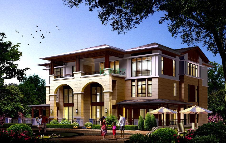 三层欧式别墅效果图新款精致,占地273平方21×13米带复式客厅阳台农村双拼别墅设计图