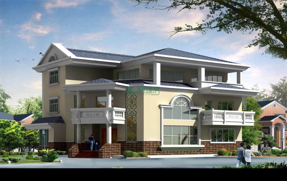 三层美式别墅效果图简约经济型,占地255平方17×15米带露台阳台农村独栋别墅设计图