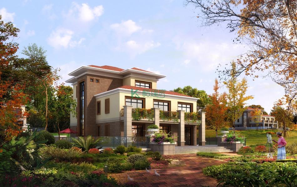 三层美式别墅效果图2019新款,占地143平方13×11米带院子露台农村独栋别墅设计图