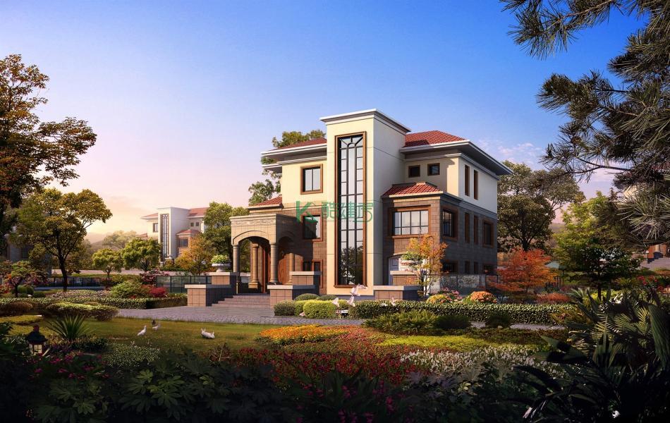 三层欧式别墅效果图豪华现代,占地132平方11×12米带车库农村独栋别墅设计图