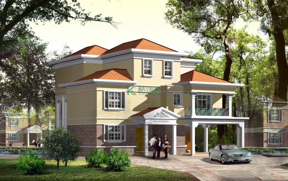 三层美式别墅效果图简单顶级,占地132平方12×11米带车库阳台农村独栋别墅设计图